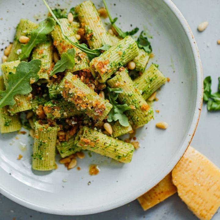 Arugula Pesto Pasta with Garlicky Breadcrumbs