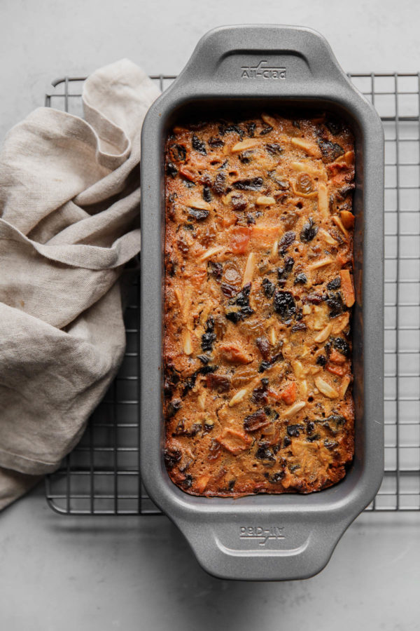 Christmas Fruit Cake in Loaf Pan on Baking Rack