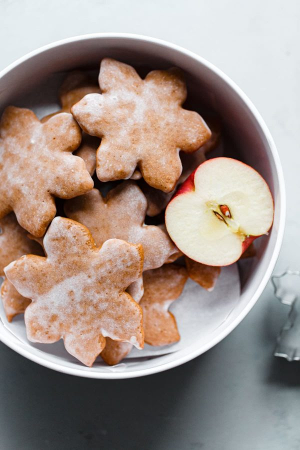 German Christmas Cookies in Tin with Apple Wedge