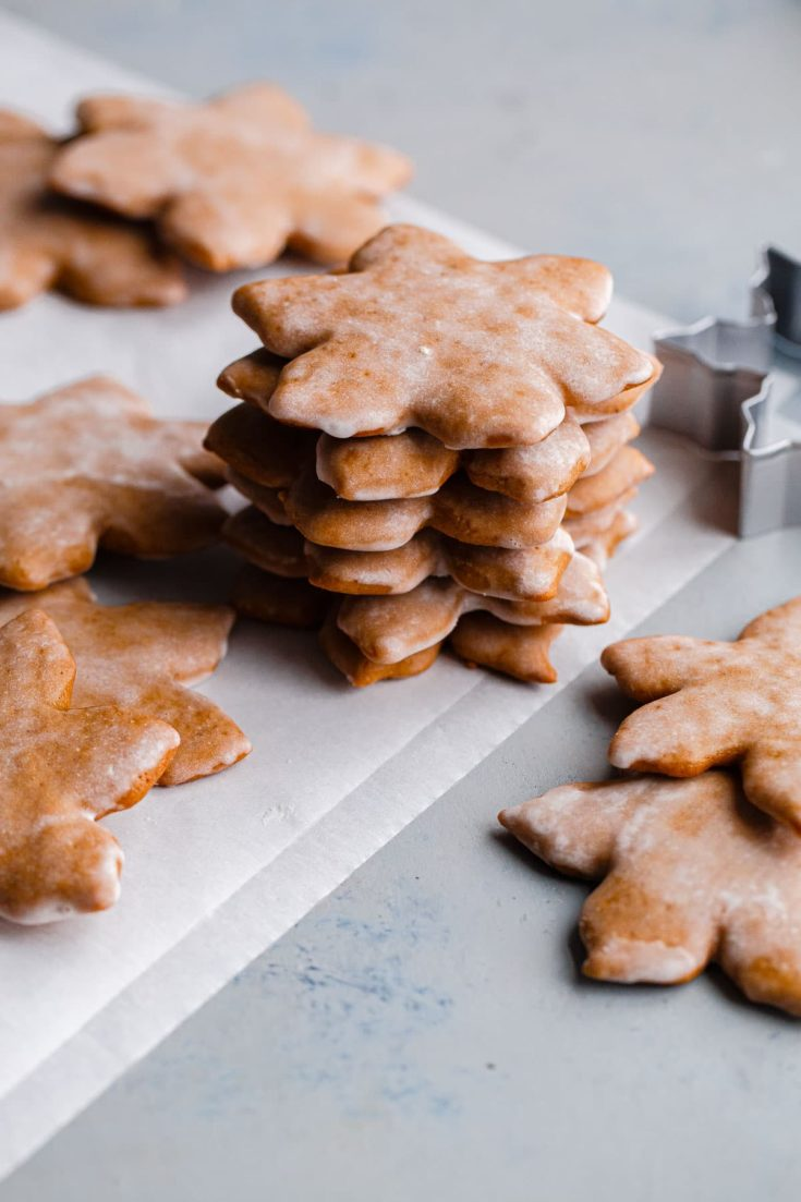 German Lebkuchen Cookies - traditional glazed German Christmas cookies made with warming spices, for a festive treat to enjoy around the holiday season! #cookies #abeautifulplate #holiday #christmas #gingerbread #lebkuchen