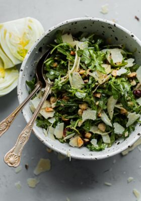 Shaved Fennel Arugula Salad with Hazelnuts, Parmesan, and Sherry Vinaigrette