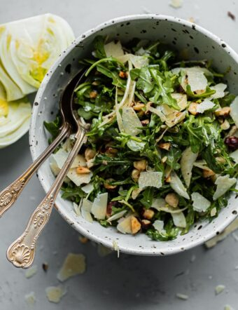 Shaved Fennel Arugula Salad with Hazelnuts, Parmesan, and Sherry Vinaigrette