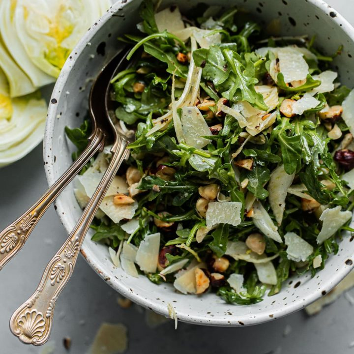 Shaved Fennel Arugula Salad with Parmesan, Hazelnuts, and Sherry Vinaigrette