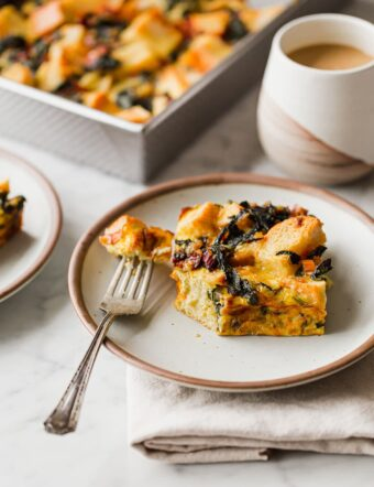 Breakfast Strata on Plate with Fork