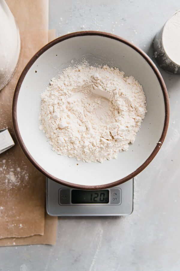 Flour in Bowl on Baking Scale