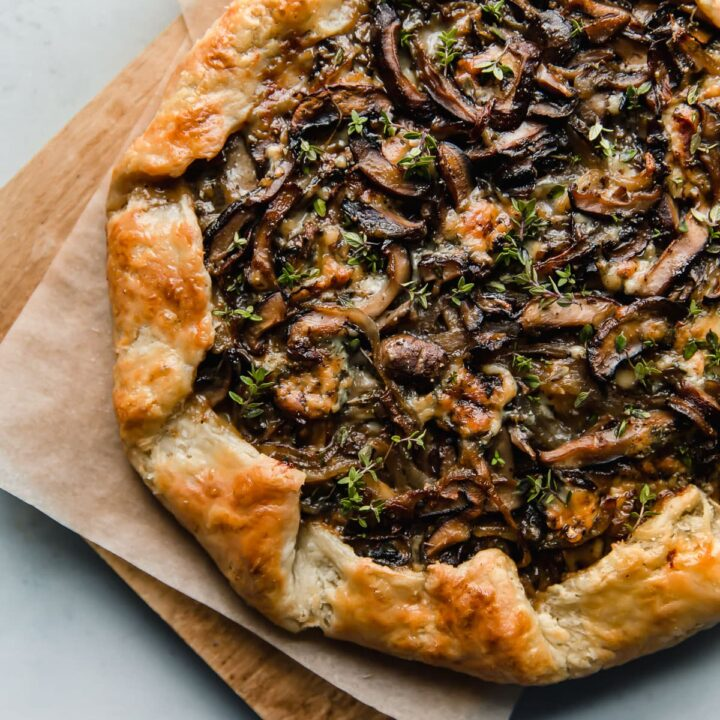 Mushroom Galette with Blue Cheese on Cutting Board