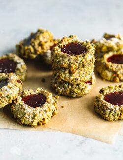 Pistachio Thumbprint Cookies with Raspberry Jam