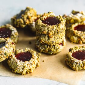 Pistachio Thumbprint Cookies with Raspberry Jam