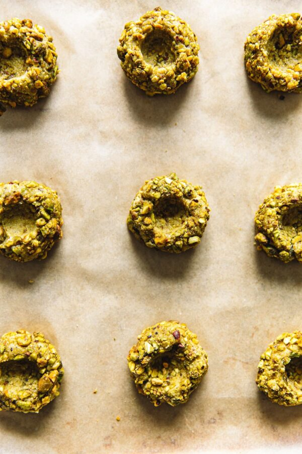 Pistachio Thumbprints on Parchment Paper