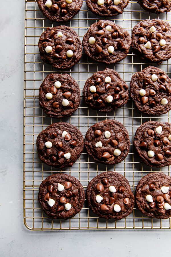 Triple Chocolate Cookies on Baking Rack