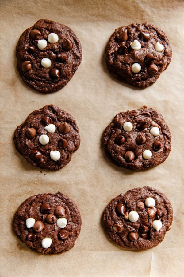 Chocolate Cookies on Parchment