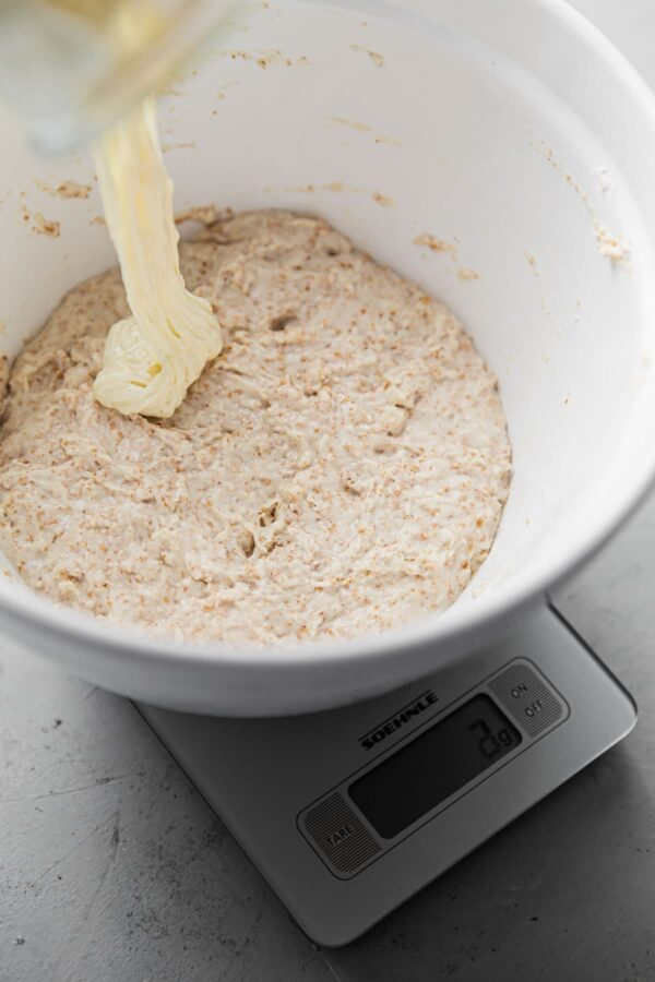Adding Sourdough Starter to Autolyse