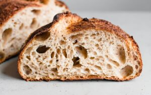 Open Crumb in Artisan Sourdough Loaf