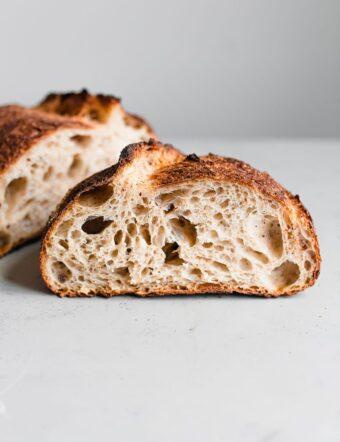 Open Crumb in Artisan Sourdough Loaf
