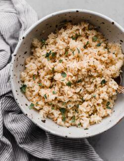 Basmati Rice Pilaf in Speckled Bowl
