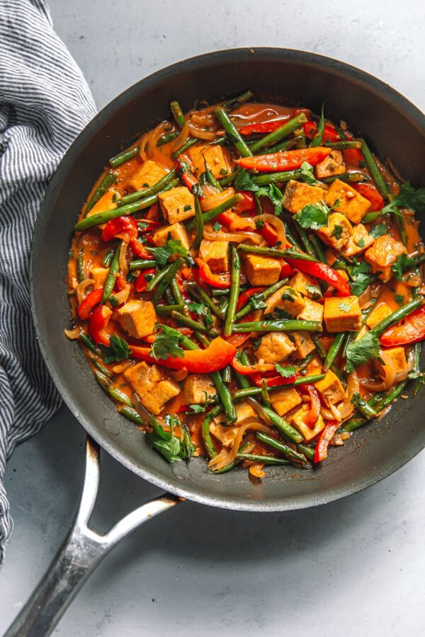 Skillet Filled with Thai Red Curry Tofu