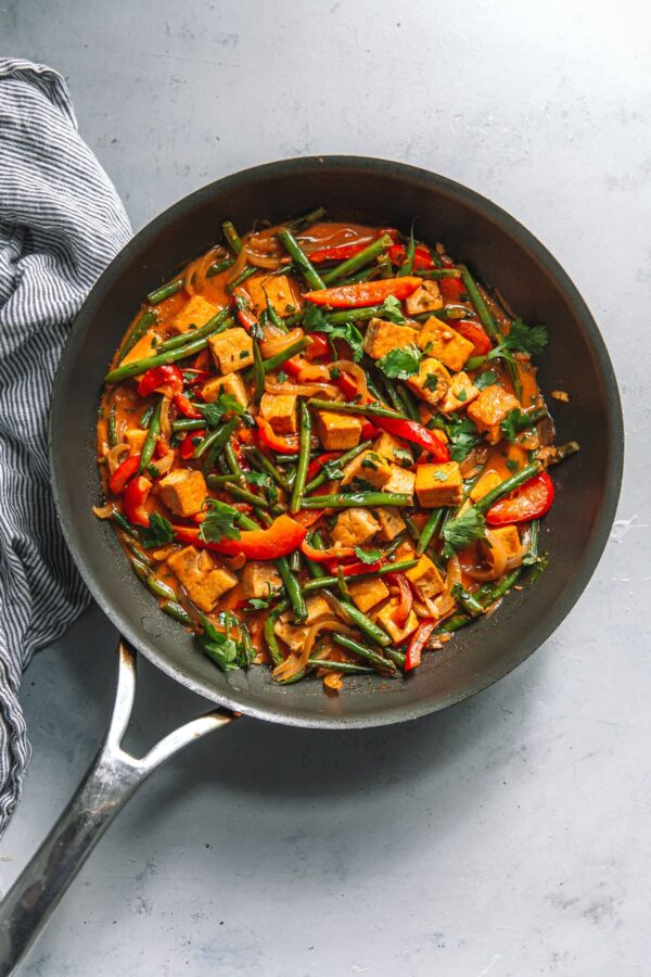 Thai Red Curry Tofu in Non Stick Large Skillet