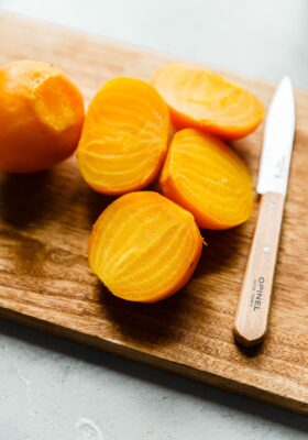 Cooked Yellow Beets on Cutting Board
