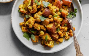 Sheet Pan Cauliflower Curry with Raita