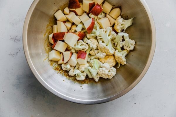 Potatoes and Cauliflower in Spice Mixture in Bowl