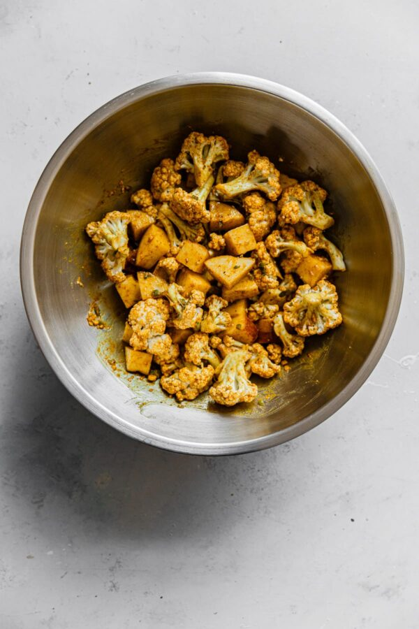 Roasted Cauliflower Curry Mixture in Bowl