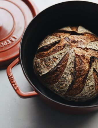 Baked Sourdough Bread Loaf in Staub Dutch Oven
