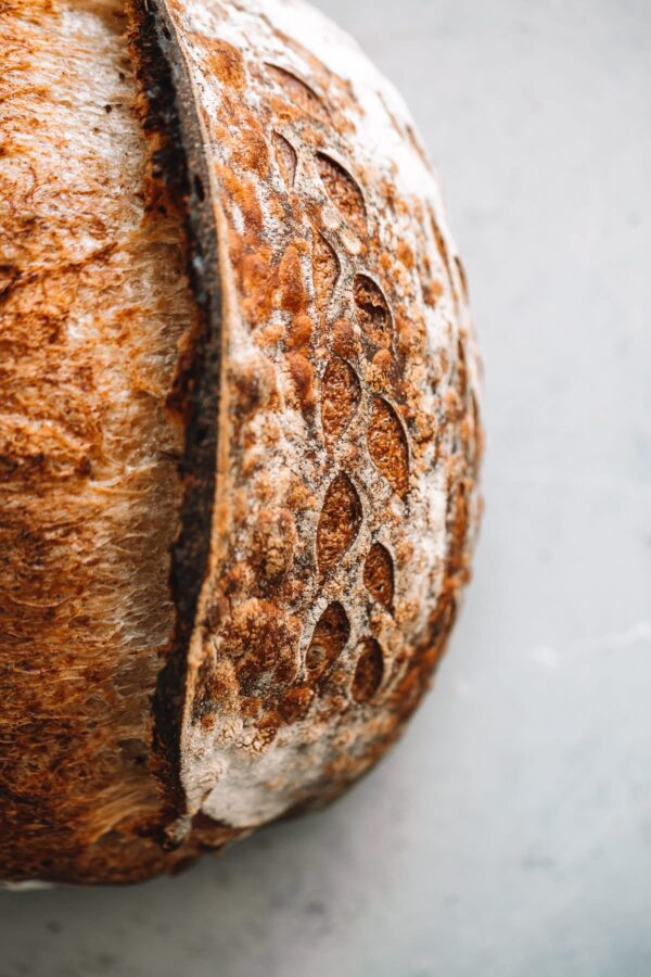 Close Up of Artisan Sourdough Bread Ear