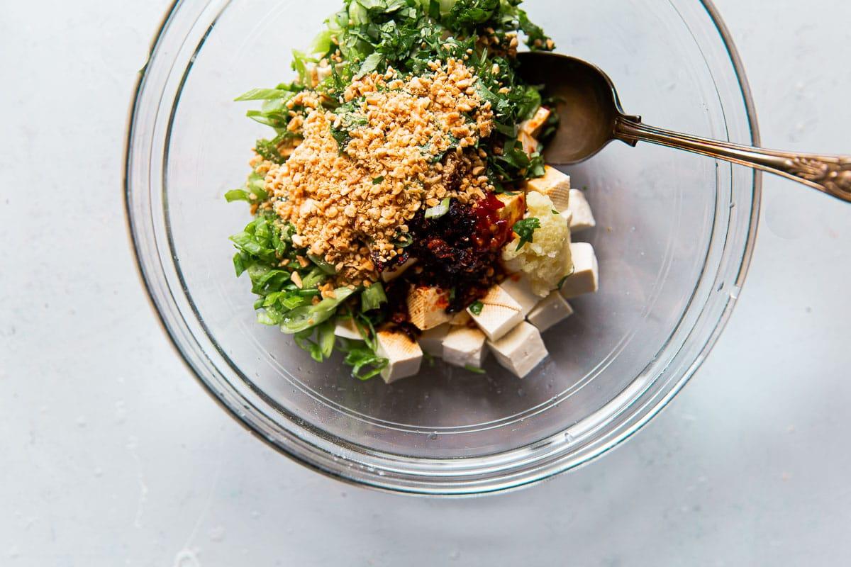Spicy Tofu Ingredients in Bowl
