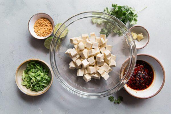 Spicy Tofu Ingredients in Bowls