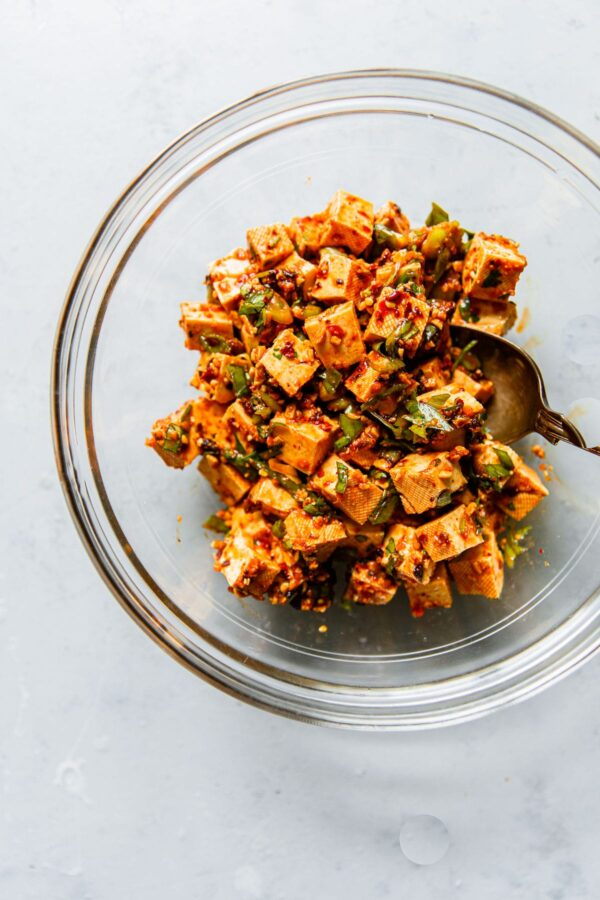 Spicy No Cook Tofu in Glass Bowl