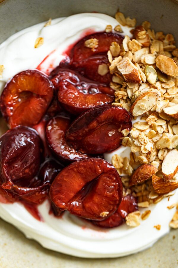 Roasted Plum Compote on Yogurt with Granola