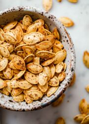 Za'atar Roasted Pumpkin Seeds in Bowl