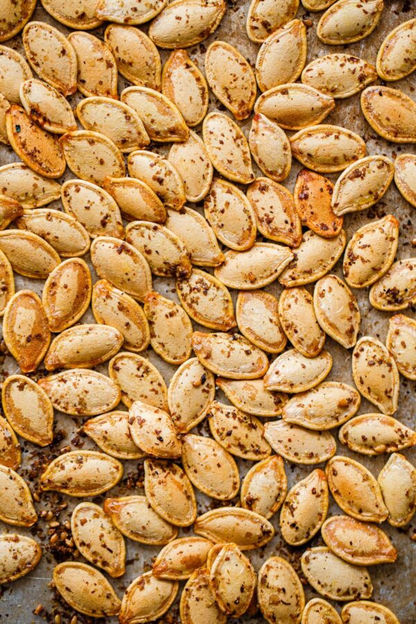 Za'atar Roasted Pumpkin Seeds on Sheet Pan