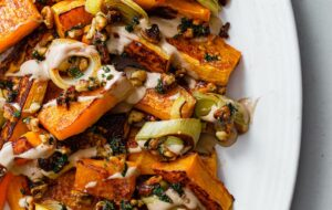 Roasted Butternut Squash and Leeks with Orange Tahini and Za'atar Walnut Crumble