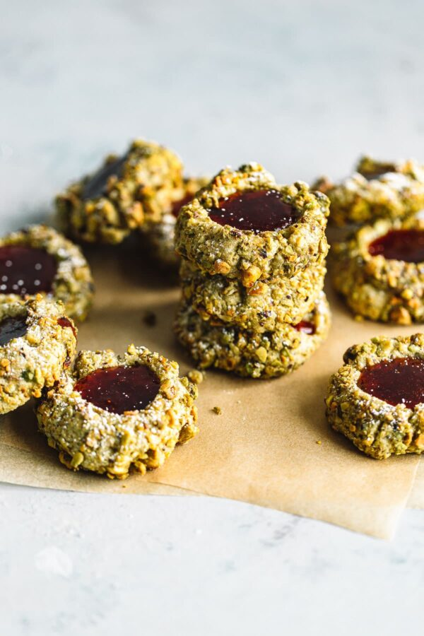 Pistachio Thumbprint Cookies with Jam Filling