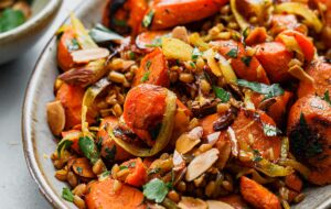 Golden Carrots and Farro Salad on Platter