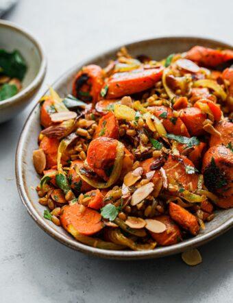 Golden Carrots and Farro Salad on Platter
