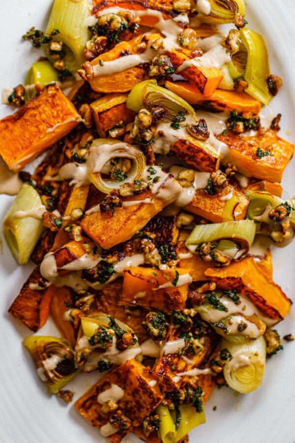 Roasted Butternut Squash and Leeks with Orange Tahini and Za'atar Walnut Crumble