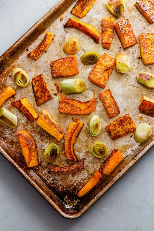 Roasted Butternut Squash and Leek on Half Sheet Pan