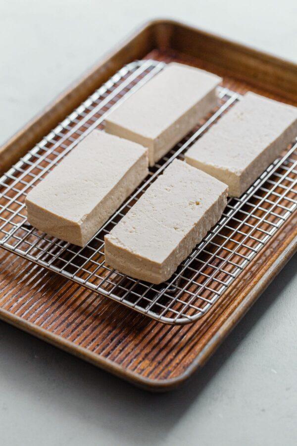 Tofu on Rack in Baking Sheet