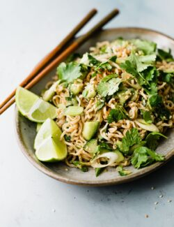 Spicy Peanut Noodles on Plate with Chopsticks
