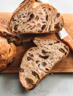 Olive Sourdough Bread Sliced in Half