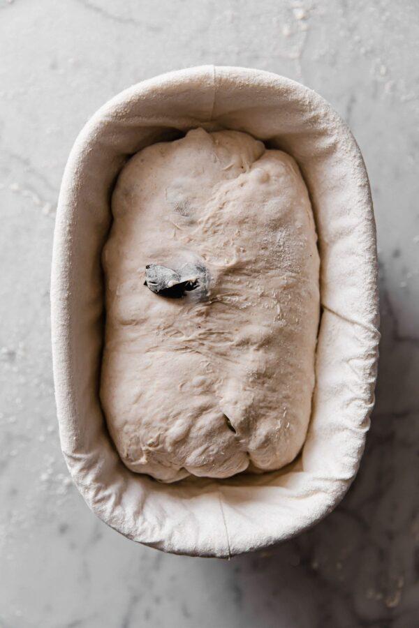 Olive Sourdough in Banneton Basket