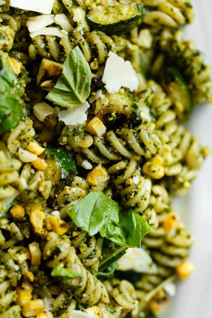 Pistachio Pesto Pasta with Grilled Corn and Zucchini