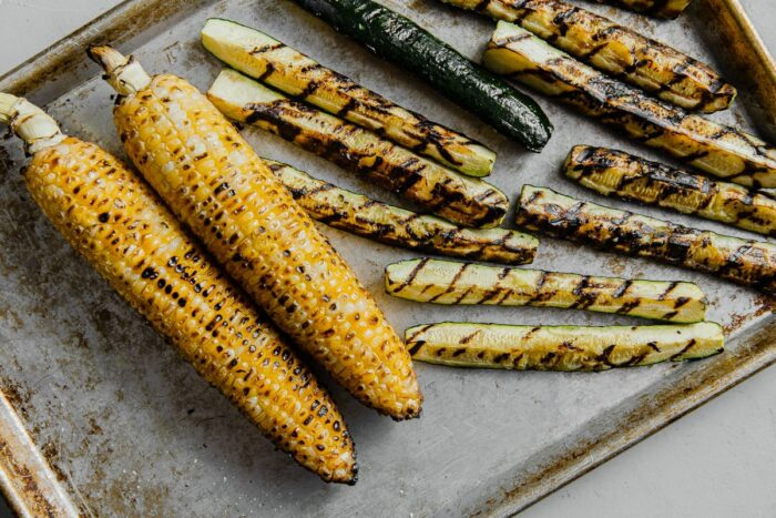 Grilled Corn Cobs and Zucchini