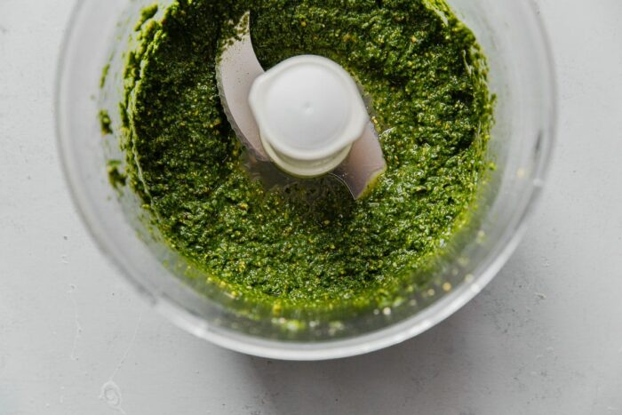 Pistachio Pesto in Food Processor Bowl