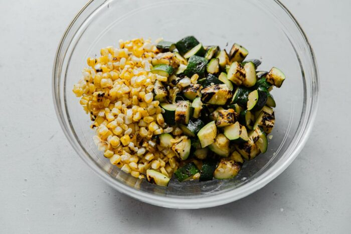 Grilled Corn and Zucchini in Bowl