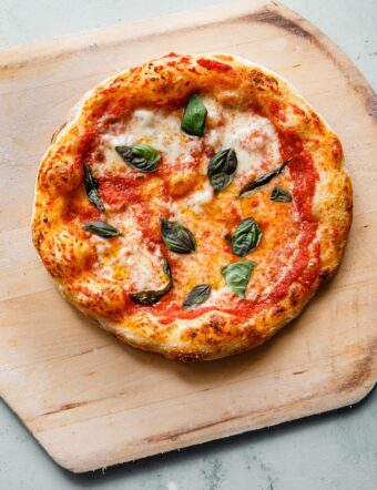 Sourdough Pizza with Mozzarella, Tomato, and Basil